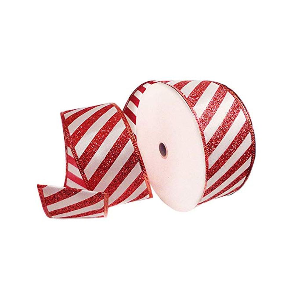 "MEMBER MARK CHRISTMAS RIBBON 1.5/"" WIRED CANDY STRIPE 50 YARD ROLLS"